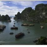 Númerosos barcos navegan la Bahía de Halong, en Vietnam