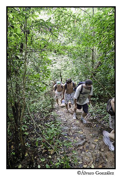 Practicando Hiking en la isla de CatBa, Halong, Vietnam