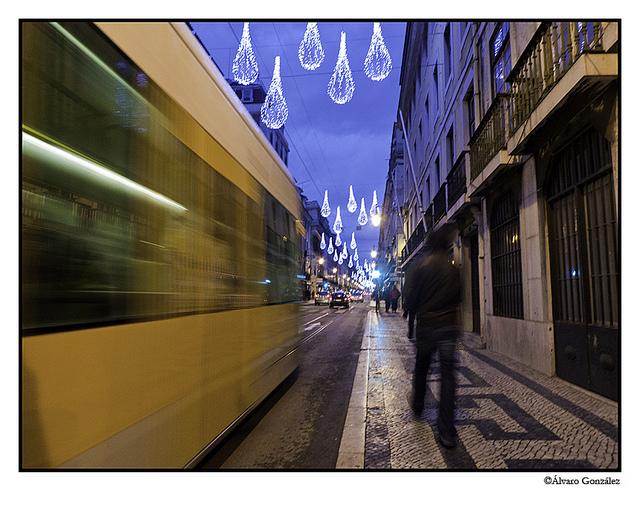 Avenida da Liberdade iluminada en Navidad, Lisboa, Portugal