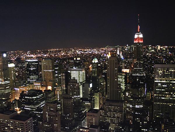 Vista nocturna de Nueva York desde el Empire State Building