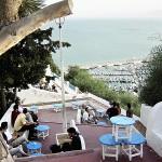 Terraza en Sidi Bou Said, Azul y menta en Túnez