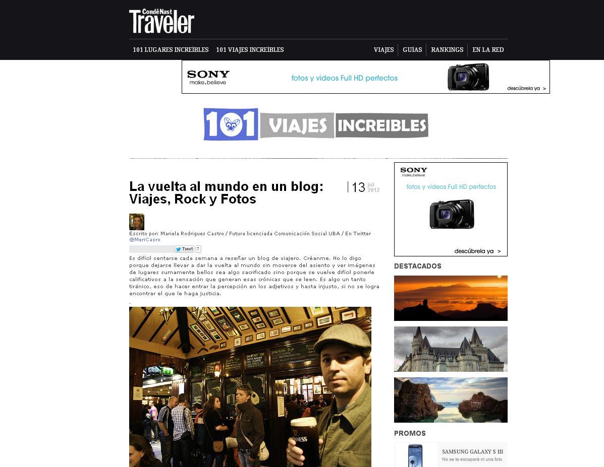Viajes Rock y Fotos en CondeNast Traveler en 101 viajes increibles