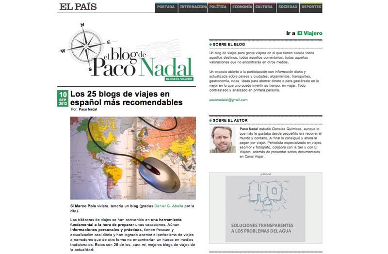 Entre los mejores 25 blogs de viajes para El País