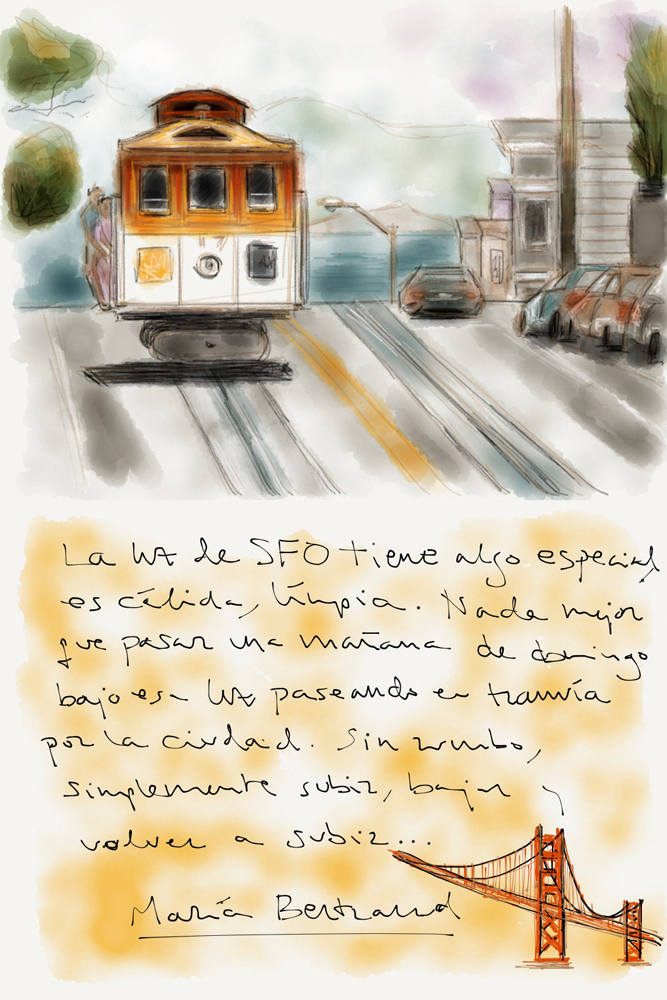 Dibujo de un tranvía en San Francisco, California, USA