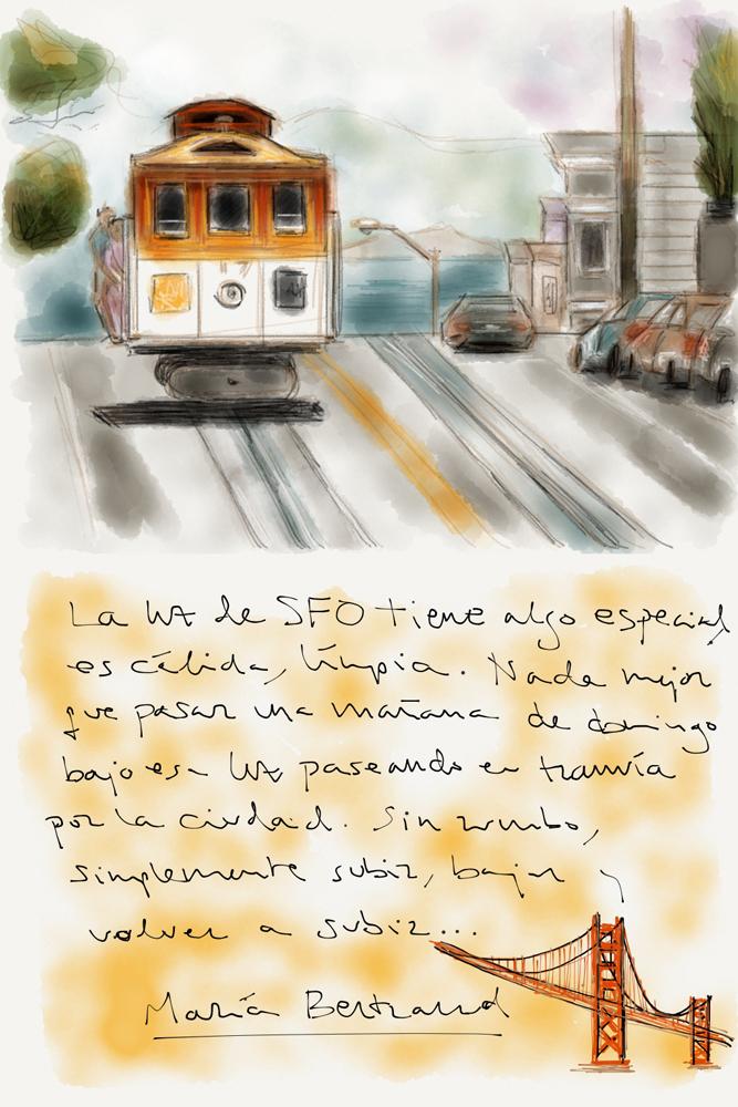 Dibujo de un tranvía en San Francisco, California, USA