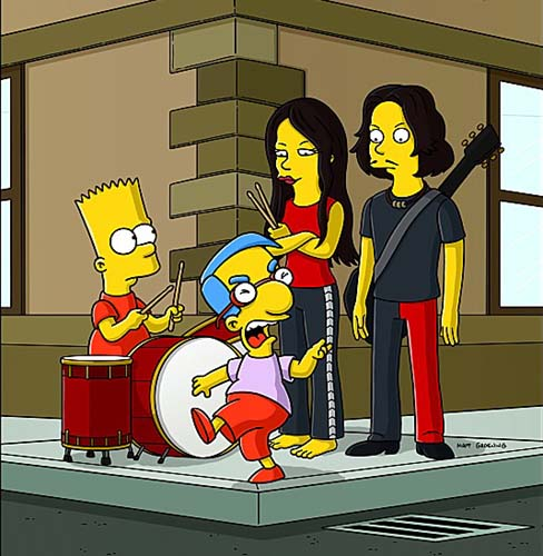 Dibujo de White Stripes en un capítulo de Los Simpsons