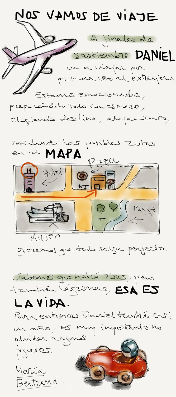 Dibujo de viajar con niños, turismo familiar
