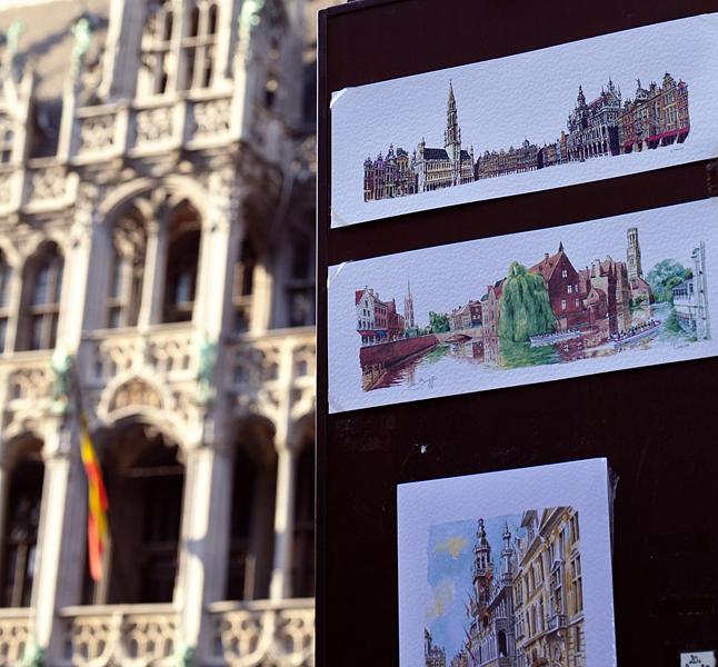 Puestos de acuarelas en la Grand Place, Bruselas