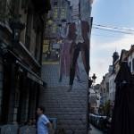 Detalle de un cómic en las calles de Bruselas