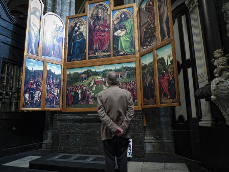 La Adoración del Cordero Mistico den Van Eyck en Gante, Flandes, Bélgica