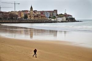 Vistas de la Playa de San Lorenzo, Gijón, Asturias