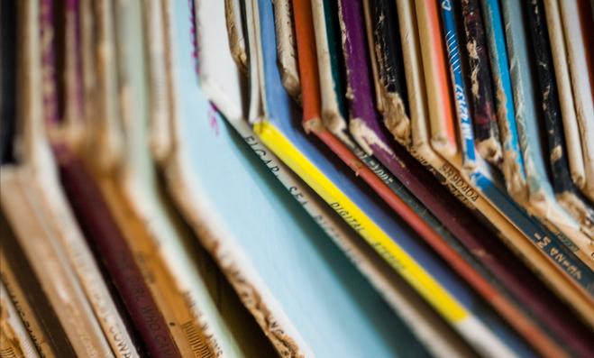 Tienda de discos, colección de vinilos