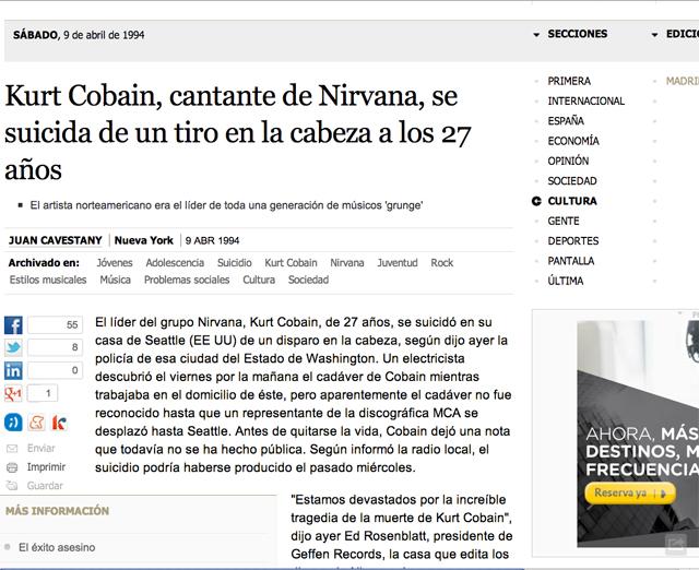 Noticia de la muerte de Kurt Cobain, lider de Nirvana, en el diario El País.