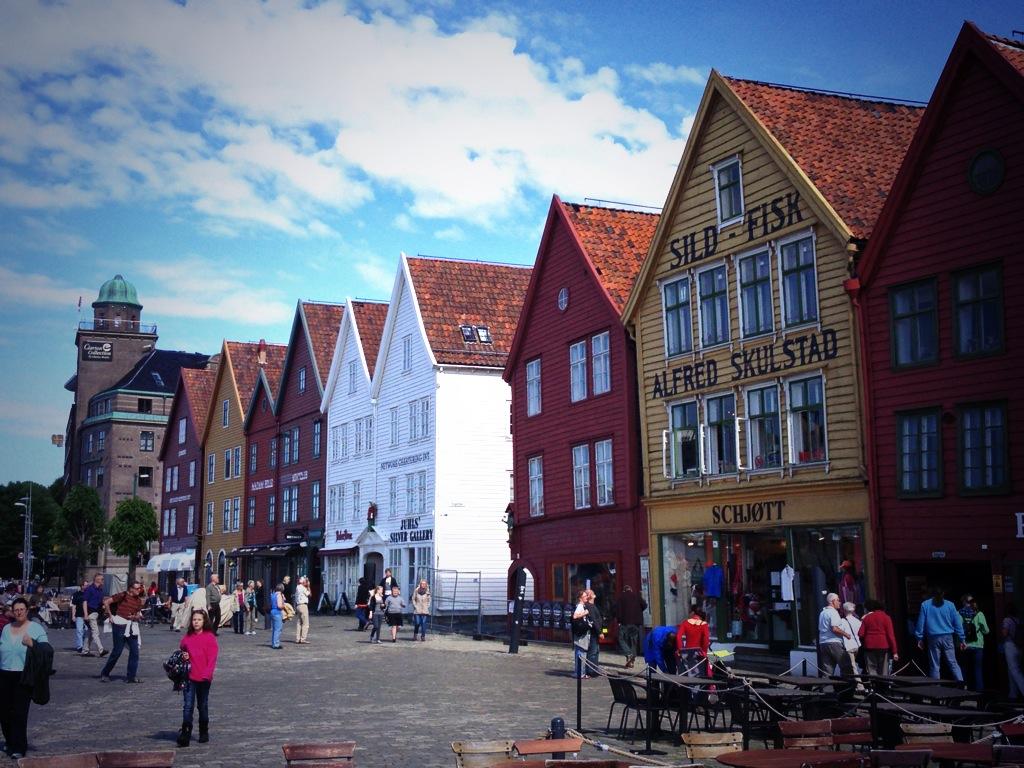 El muelle Bryggen en Bergen, Noruega