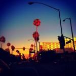 Típica puesta de sol en Beverly Hills, así es America.