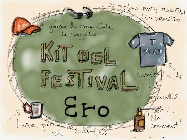 Ilustración Festival de Música, María Bertrand, kit festivalero, Qué llevar en la mochila para ir de festival