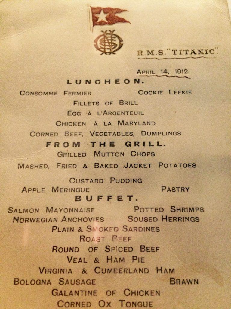menú titanic, museo del Titanic, belfast