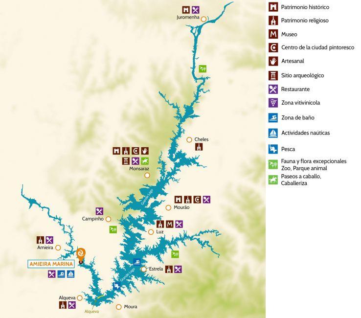 mapa del lago de Alqueva para navegar en barco